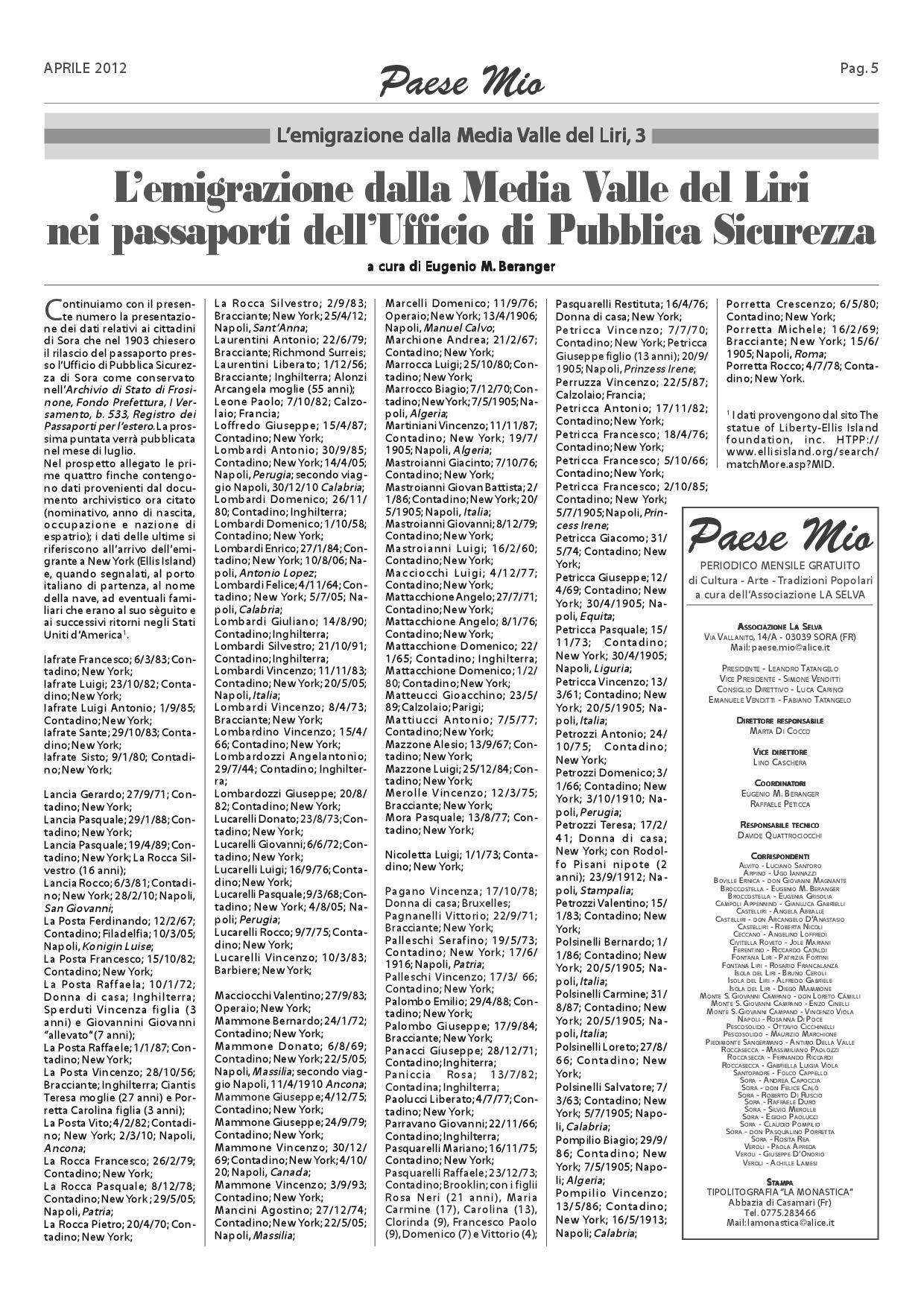 Mio Dino Ufficio.Passport Records For 1903 For Sora Partial And Pescosolido